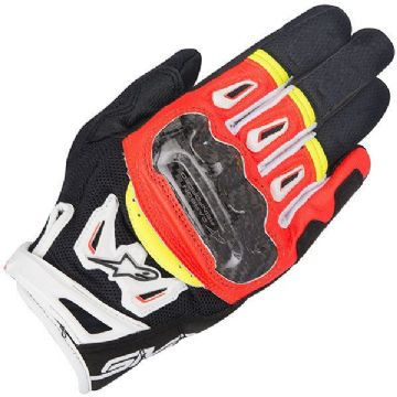 Alpinestars SMX-2 Air Carbon V2 Leather Motorcycle Gloves - Black / Red / Yellow